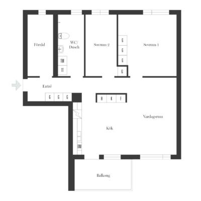 Välplanerad och ljus 3,5-rummare med solig balkong.