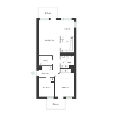 Välplanerad och ljus 3 rummare med två balkonger i högt läge och fantastisk utsikt.