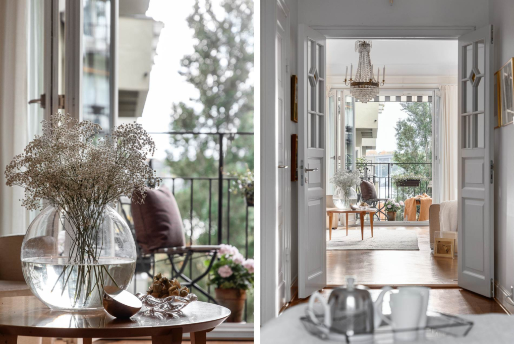 Sjöutsikt, balkong i söder & öppen spis